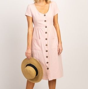NWT Pinkblush Light Pink Button Front Midi Dress